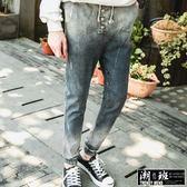 『潮段班』【HJ015520】韓版  單寧丹寧腰抽繩漸層刷色刷白牛仔束口褲縮腳褲