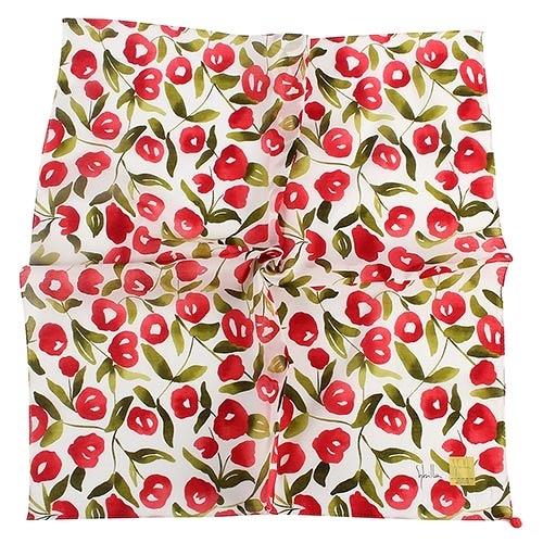 Sybilla 棉花圖案純綿帕領巾(紅色)989164-96