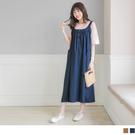 《MA0244》棉麻半開襟雙口袋孕婦吊帶裙--適 3L~6L OrangeBear
