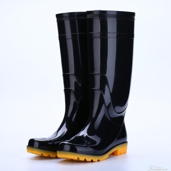 雨鞋-高幫雨鞋男黑色高筒牛筋防滑耐磨工地勞保工作防水男女膠鞋雨靴 快速出貨 YYS