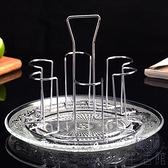 掛置物茶架水杯不銹鋼杯架玻璃水盤杯倒掛架廚房杯架子【極簡生活】