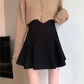 短裙 春秋韓版2021新款設計感裙子高腰顯瘦爆款A字半身裙短裙女小黑裙