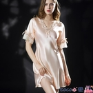 熱賣睡裙 新款睡衣女夏睡裙絲綢短袖冰絲連身裙蕾絲家居服大碼睡衣女200斤 coco