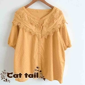 《貓尾巴》KT-0046 日系蕾絲雙層鉤花短袖上衣(森林系 日系 棉麻 文青 清新)