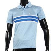 LONGCHAMP 經典純棉寬條紋短袖POLO衫(水藍色)179240-1