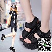 涼鞋女式夏厚底增高坡跟松糕運動休閒羅馬搖搖沙灘鞋【風之海】