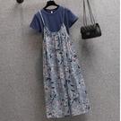 大碼洋裝套裝 L-3XL大碼女装胖妹妹mm减龄T恤显瘦遮肉长裙兩件套装6585 3F088 胖妞衣櫥