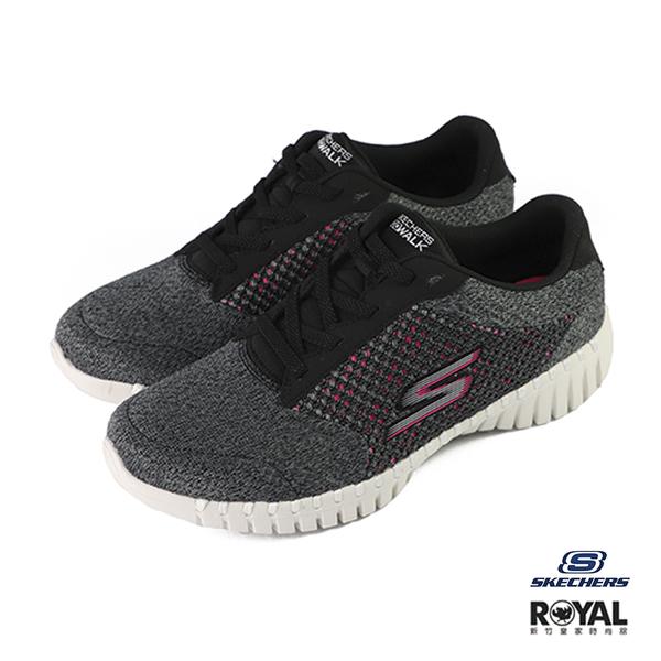 Skechers Go Walk 黑灰色 織布 運動健走鞋 女款 NO.J0188【新竹皇家 16704BKHP】