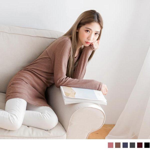 《AA3292-》素色親膚磨毛大圓領長版上衣 OB嚴選