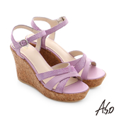 A.S.O 嬉皮假期 牛皮拼接閃色羊皮楔型涼鞋 淺紫