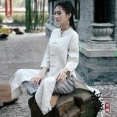 民族風復古文藝 改良式漢服打坐茶服瑜伽服棉麻禪服女 萬聖節鉅惠
