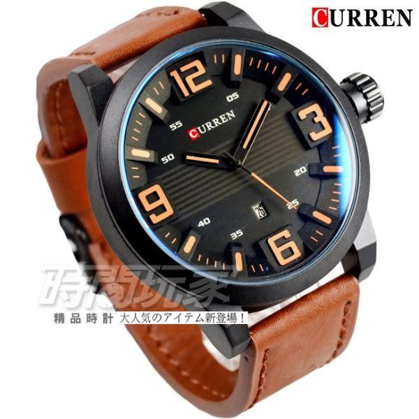 CURREN 大數字時刻 時尚潮流皮革腕錶 男錶 大錶盤 飛行錶 學生錶 數字錶 大錶徑 咖啡x黑 CU8241O