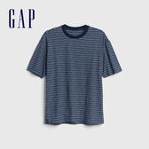 Gap男裝時尚紮染風格圓領短袖T恤573398-藍綠色條紋