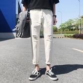 夏裝新款潮流男士破洞牛仔褲薄款百搭小腳褲子青年休閒白色九分褲