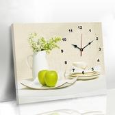 現代客廳餐廳裝飾畫免打孔簡約電錶箱掛畫創意鐘錶壁畫歺廳畫掛鐘