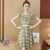 洋裝溫柔裙收腰修身印花荷葉邊裙子冷淡風蕾絲連衣裙女裝 EY4273 『優童屋』