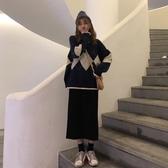 長袖針織裙洋裝秋冬裙子套裝兩件套毛衣氣質小香風衣服冬季 【傑克型男館】