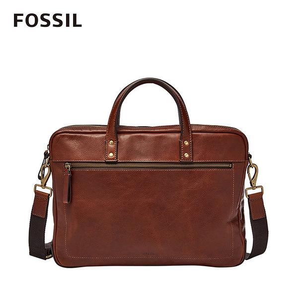 FOSSIL Haskell 15吋筆電 焦糖色真皮商旅公事包 MBG9343222