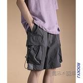 夏季中褲純色運動休閒寬鬆情侶短褲鬆緊口袋潮流百搭工裝五分褲男 夏季狂歡