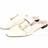 BALLY JANELLE 小牛皮穿釦設計穆勒鞋(米白色)1920542-03