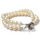 天然珍珠雙串白色圓珠手環...