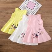 女童夏裝新款純色棉質洋氣裙子兒童裝女潮童裙休閒寶寶連身裙洋裝