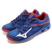 Mizuno 排羽球鞋 Thunder Blade 藍 紅 生膠底 基本款 運動鞋 男鞋【PUMP306】 V1GA1770-27