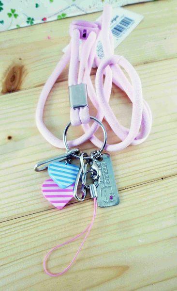 【震撼精品百貨】Hello Kitty 凱蒂貓~造型手機掛繩-藍粉條心