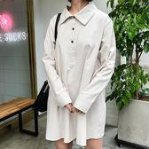 現貨-連身裙-純色娃娃裝襯衫翻領洋裝 Kiwi Shop奇異果1026【SOD8207】