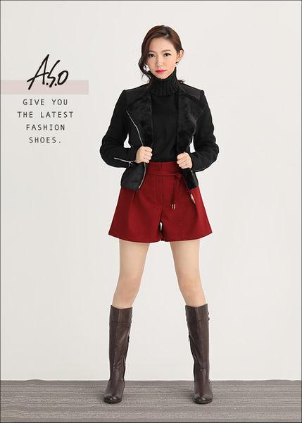 A.S.O 優雅時尚 真皮寬口飾釦拼接楔型長靴  咖啡