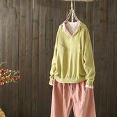 寬鬆v領棉麻連帽針織衫內搭衫/設計家Y4696