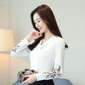 新款刺繡襯衫V領上衣女長袖韓版飄帶寬松大碼雪紡衫