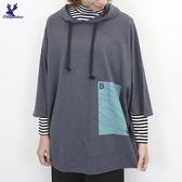 【秋冬新品】American Bluedeer - 文字印圖寬版帽T 二色