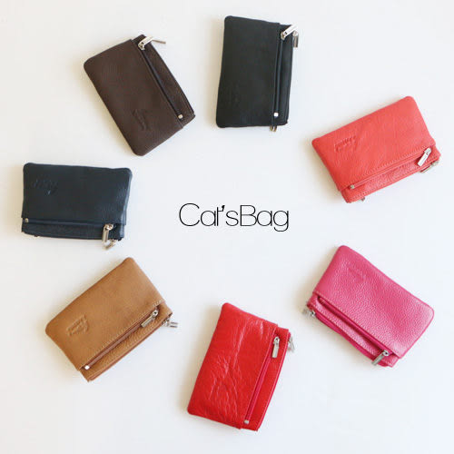 短夾-三層真皮鑰匙圈零錢包Catsbag-8050529