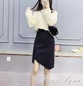 酷伽甜美時尚純色修身包臀釘珠裝飾短款春秋針織半身裙6051 范思蓮恩
