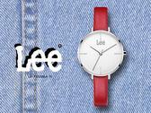 【時間道】LEE 簡約休閒風仕女皮帶腕錶 /白面紅皮 (LEF-F101DSL4-7S)免運費
