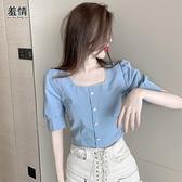 泡泡袖洋裝 小心機泡泡袖夏裝2021新款女方領短款上衣藍色短袖法式小眾設計感  美物 99免運