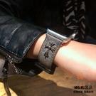 朋克骷髏頭iwatch錶帶復古真皮apple watch腕帶【橘社小鎮】
