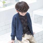 毛衣 童裝男童開衫外套針織新款秋冬兒童正韓V領毛衣開衫外套