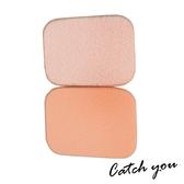 【CatchYou凱趣妮】高密度柔軟小長方形植絨海綿粉撲(水粉/乾溼兩用)2入|粉撲 化妝 上妝 彩妝
