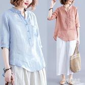 夏季新款文藝寬鬆氣質棉麻襯衫女純色薄款中袖小V領上衣潮 yu6329【艾菲爾女王】