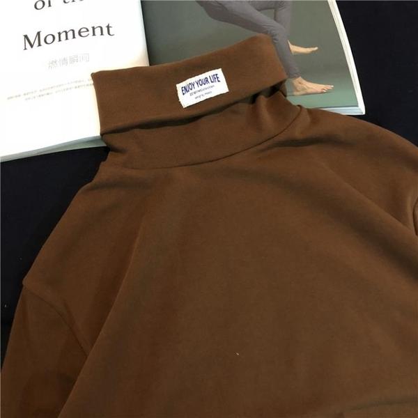 韓國ulzzang長袖t恤高領純棉原宿純色打底衫INS超火的大學T男女潮叢林之家