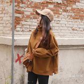 衛衣2018新款女長袖秋冬韓版潮學生寬鬆加厚加絨純色高領連帽外套