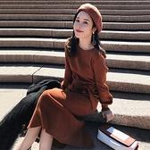 針織連身裙女秋冬裝年新款毛衣長裙高冷御姐風成熟女裝裙子潮 交換禮物