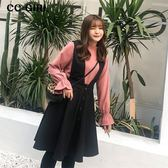 中大尺碼 粉色喇叭袖上衣+毛呢背心裙 兩件式長袖洋裝 - 適XL~4L《 67288HH 》CC-GIRL