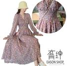 EASON SHOP(GW8508)韓版小雛菊雪紡碎花朵長袖連身裙女洋裝收腰顯瘦過膝長裙及踝大裙襬荷葉袖沙灘裙