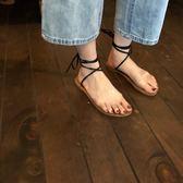 韓國百搭透明雙杠圓頭平底涼鞋綁帶沙灘羅馬鞋女鞋夏 小確幸生活館