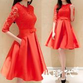 大碼紅色蕾絲高腰連身裙結婚敬酒禮服 DLF-25 603-150  603-152
