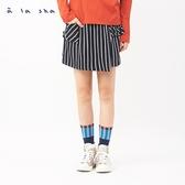 a la sha 隱藏的烏龍和阿財直條紋短褲裙