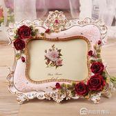 相框 歐式創意相框田園6寸7寸樹脂復古玫瑰畫框影樓梳妝擺台結婚照擺件 美斯特精品